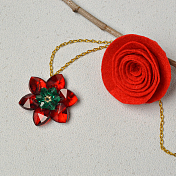 Glass Bead Flower Pendant Necklace