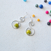 Pretty Earrings with Natural Mashan Jade Beads