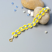 Double Hole Bracelet with Yellow Flower