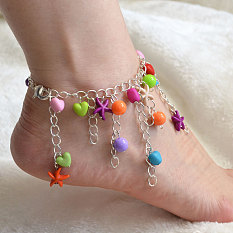 Tassel Chain Anklet with Colorful Beads