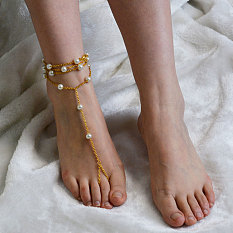 Gold Chain Anklet with Pearls