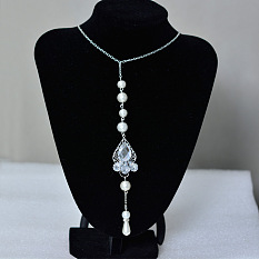 Pearl and Rhinestone Beaded Back Necklace