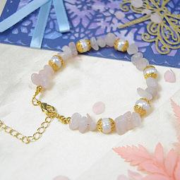 PandaHall Selected Tutorial on Pink Gravel Beaded Bracelet