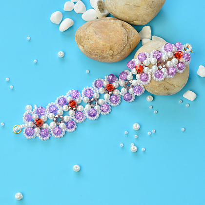 Sweet Bracelet with Pearl and Crackle Glass Beads-1