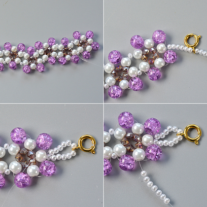 Sweet Bracelet with Pearl and Crackle Glass Beads